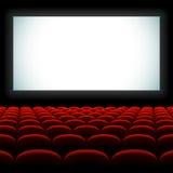 Het auditorium van de bioskoop met het scherm en zetels Stock Foto's