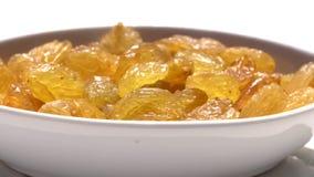 Het Australische sultanarozijn-gedroogd fruit van druivenrozijnen, het alternatief van de gezonde voedingsnack, het omcirkelen stock video