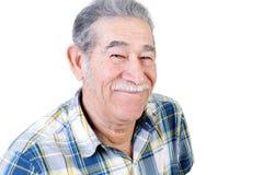 Het authentieke oudere Mexicaanse mens grijnzen Stock Afbeelding