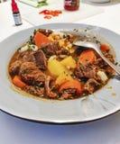Het authentieke traditionele Hongaarse huis maakte goelasj voor diner in Europa met kruiden en paprika stock foto