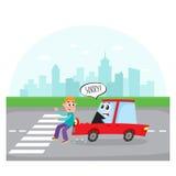 Het autokarakter met menselijk gezicht raakt een voetganger stock illustratie