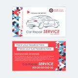 Het automobielmalplaatje van het de Dienstadreskaartje Autodiagnostiek en vervoerreparatie Stock Foto
