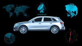 Het autonome voertuig, driverless SUV-auto op zwarte achtergrond met infographic gegevens, 3D zijaanzicht, geeft terug Royalty-vrije Stock Afbeeldingen