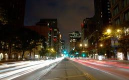 Het Ave van Michigan van Chicago, Nacht Stock Afbeelding