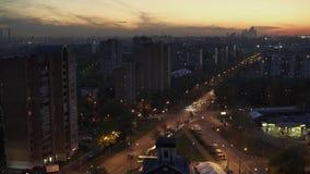 Het avondleven van de stad moskou stock video