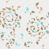 Het Aziatische art. van het de vijver naadloze patroon van koivissen Stock Afbeelding