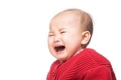 Het Aziatische babymeisje schreeuwen stock foto