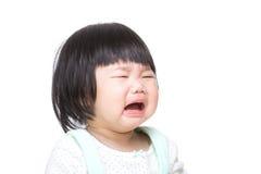 Het Aziatische babymeisje schreeuwen stock fotografie