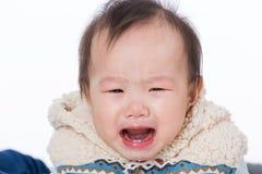 Het Aziatische babymeisje schreeuwen royalty-vrije stock afbeelding