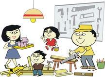 Het Aziatische beeldverhaal van de huisworkshop Stock Afbeeldingen
