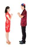 Het Aziatische Chinese mensen begroeten Stock Foto's