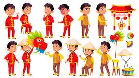 Het Aziatische Jonge geitje van de Jongenskleuterschool stelt Vastgestelde Vector Festival, Draak Gelukkig Kinderenkarakter baby- vector illustratie