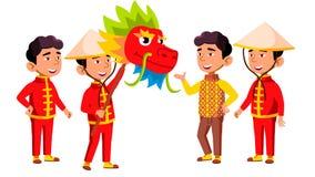 Het Aziatische Jonge geitje van de Jongenskleuterschool stelt Vastgestelde Vector Festival, Draak Kleine kinderen Gelukplezier Vo stock illustratie