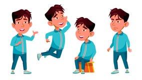 Het Aziatische Jonge geitje van de Jongenskleuterschool stelt Vastgestelde Vector Vrij Positieve Baby leisure Voor Prentbriefkaar stock illustratie