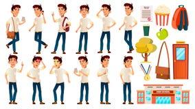 Het Aziatische Jonge geitje van de Jongensschooljongen stelt Vastgestelde Vector emotioneel Wit overhemd Middelbare schoolkind De vector illustratie
