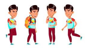Het Aziatische Jonge geitje van de Jongensschooljongen stelt Vastgestelde Vector Lage schoolkind Actief Leuk Kind Voor Web, Broch stock illustratie