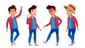 Het Aziatische Jonge geitje van de Jongensschooljongen stelt Vastgestelde Vector Middelbare schoolkind Secundair onderwijs Vrijet stock illustratie