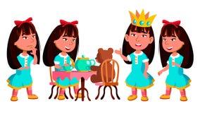 Het Aziatische Jonge geitje van de Meisjeskleuterschool stelt Vastgestelde Vector Vrij Positieve Baby leisure Voor Prentbriefkaar royalty-vrije illustratie
