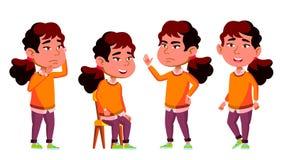 Het Aziatische Jonge geitje van de Meisjeskleuterschool stelt Vastgestelde Vector Weinig kind Het hebben van pret motherhood Voor royalty-vrije illustratie