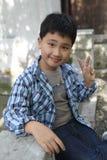 Het Aziatische jongen glimlachen stock foto's