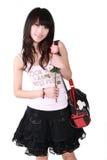 Het Aziatische meisje en nam toe Royalty-vrije Stock Fotografie