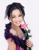 Het Aziatische meisje met nam toe royalty-vrije stock afbeelding