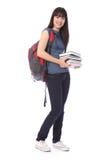 Het Aziatische meisje van de tienerstudent met onderwijsboeken Stock Foto