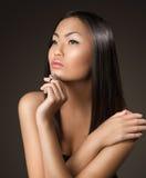 Het Aziatische portret van de het gezichtsclose-up van de vrouwenschoonheid Royalty-vrije Stock Afbeelding