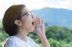 Het Aziatische vrouw schreeuwen Stock Fotografie