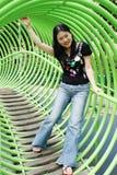 Het Aziatische vrouw spelen Royalty-vrije Stock Afbeeldingen