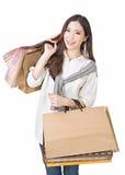Het Aziatische vrouw winkelen Royalty-vrije Stock Foto
