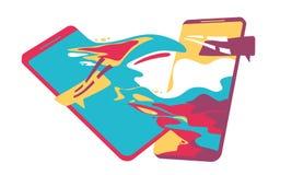Het babbelen concept het babbelen met chatbot op smartphone Vector illustratie vector illustratie
