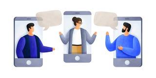 Het babbelen met collega's die mobiele telefoons met behulp van De jonge mensen van bespreking aan elkaar, bespreken nieuws, soci royalty-vrije stock foto