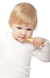 Het babymeisje met tooth-brush Royalty-vrije Stock Afbeeldingen