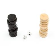 Het backgammon breekt af en dobbelt Royalty-vrije Stock Foto's