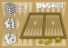Het backgammon met dobbelt Royalty-vrije Stock Foto's