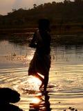 Het bad van de zonsondergang Stock Foto's