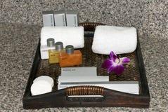 Het bad van het hotel en lotionuitrusting Royalty-vrije Stock Foto