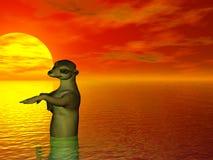 Het baden Meercat vector illustratie