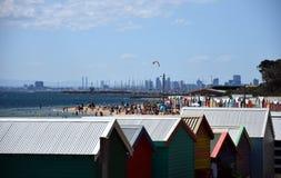 Het baden van Brighton de dozen zijn populair Bayside-pictogram en culturele activa stock foto