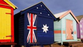 Het baden van Brighton hutten Melbourne stock footage