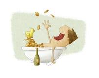 Het baden van de mens in geld Royalty-vrije Stock Foto's