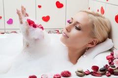 Het baden van de vrouw Royalty-vrije Stock Foto