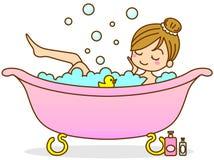 Het baden van de vrouw Stock Afbeeldingen