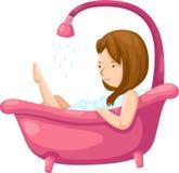 Het baden van de vrouw in badkuip Royalty-vrije Stock Afbeeldingen