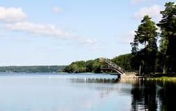 Het baden van de zomer in Zweden. Stock Foto