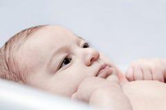 Het baden van een jonge 3 maandbaby Stock Foto