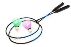 Het badminton van de racket en van de shuttle Stock Foto's