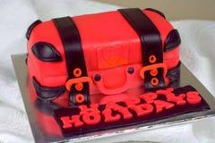 Het bagage gestalte gegeven rood en de zwarte van de fondantjecake Royalty-vrije Stock Foto's