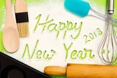 Het bakken - Gelukkig Nieuwjaar 2018 Stock Afbeelding